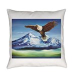 Eagle Above Mt Shasta Everyday Pillow