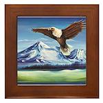 Eagle Above Mt Shasta Framed Tile