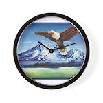 Eagle Above Mt Shasta Wall Clock