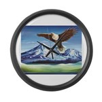 Eagle Above Mt Shasta Large Wall Clock
