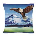 Eagle Above Mt Shasta Woven Throw Pillow
