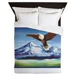 Eagle Above Mt Shasta Queen Duvet