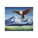 Eagle Above Mt Shasta Throw Blanket