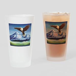 Eagle Above Mt Shasta Drinking Glass
