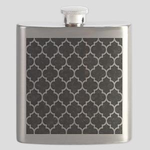 TILE1 BLACK MARBLE & SILVER GLITTER (R) Flask