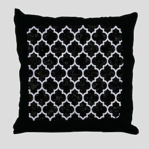 TILE1 BLACK MARBLE & SILVER GLITTER ( Throw Pillow