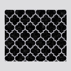 TILE1 BLACK MARBLE & SILVER GLITTER Throw Blanket