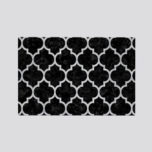 TILE1 BLACK MARBLE & SILVER GLITT Rectangle Magnet