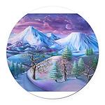 Mt Shasta Sunrise Round Car Magnet