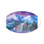 Mt Shasta Sunrise Oval Car Magnet