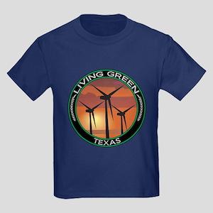 Living Green Texas Wind Power Kids Dark T-Shirt