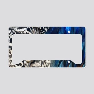 Peafowl Feaythers Black White And Blue License Pla
