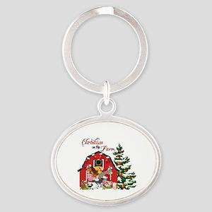 Christmas on the Farm Oval Keychain