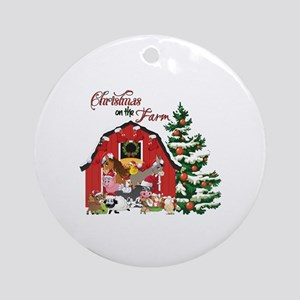 christmas on the farm round ornament - Redneck Christmas Decorations