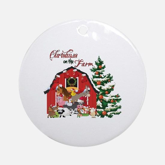 Christmas on the Farm Round Ornament