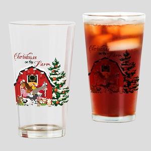 Christmas on the Farm Drinking Glass