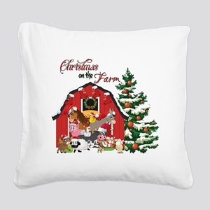 Christmas on the Farm Square Canvas Pillow