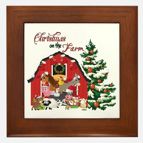 Christmas on the Farm Framed Tile