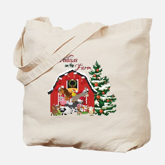 Christmas on the Farm Tote Bag