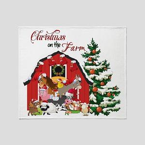 Christmas on the Farm Throw Blanket
