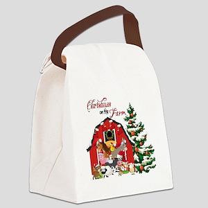 Christmas on the Farm Canvas Lunch Bag