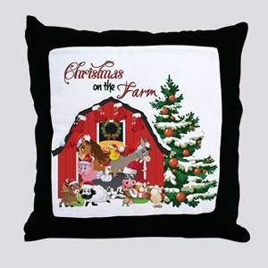 Christmas on the Farm Throw Pillow