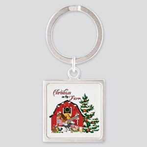 Christmas on the Farm Square Keychain