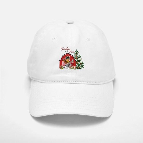 Christmas on the Farm Baseball Baseball Cap