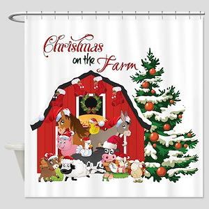 christmas on the farm shower curtain