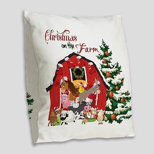 Christmas on the Farm Burlap Throw Pillow