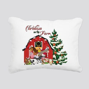 Christmas on the Farm Rectangular Canvas Pillow