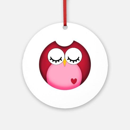 Dark Pink Owl Round Ornament