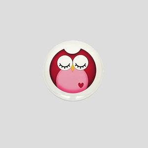 Dark Pink Owl Mini Button
