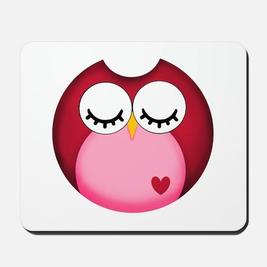 Dark Pink Owl Mousepad