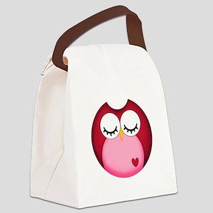 Dark Pink Owl Canvas Lunch Bag