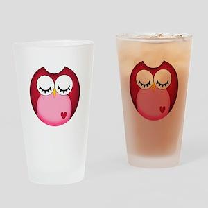 Dark Pink Owl Drinking Glass