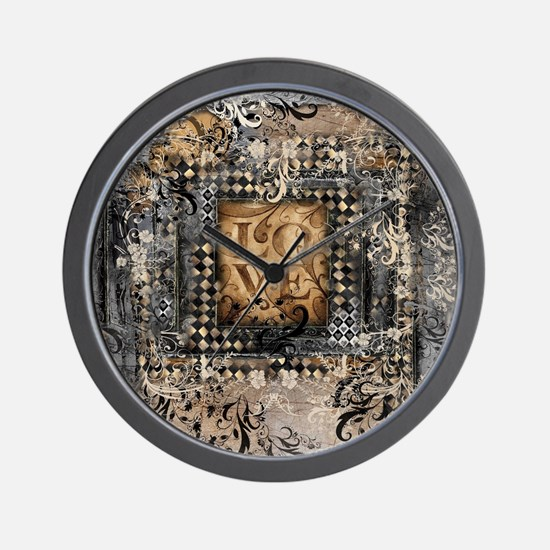 Vintage Love Romance Scroll Art Wall Clock