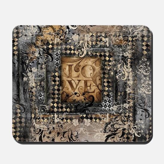 Vintage Love Romance Scroll Art Mousepad