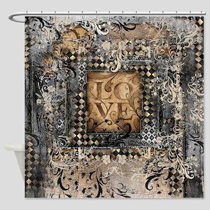 Vintage Love Romance Scroll Art Shower Curtain