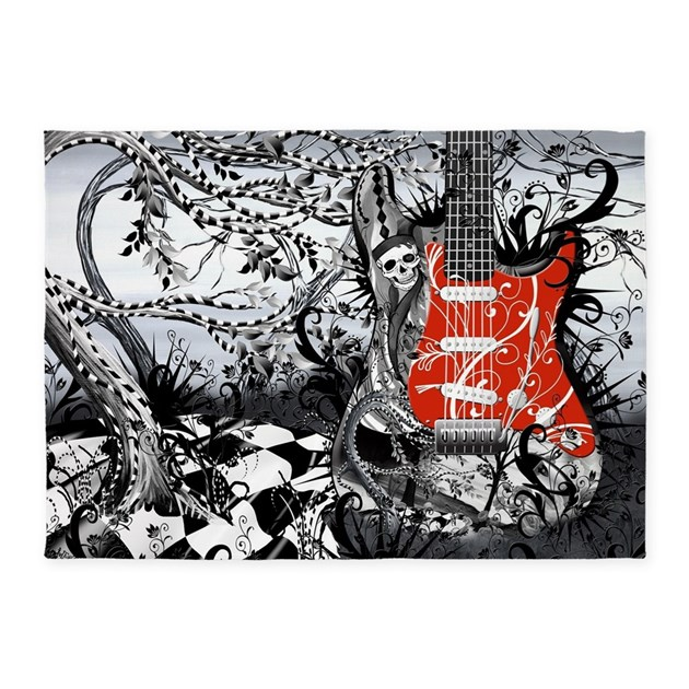 Guitar Rock Band Music Art By Julee 5 X7 Area Rug
