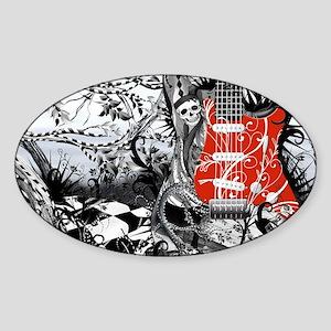 Guitar Rock Band Music Art by Julee Sticker (Oval)