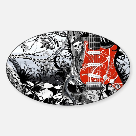 Guitar Rock Band Music Art by Julee Sticker (Oval)