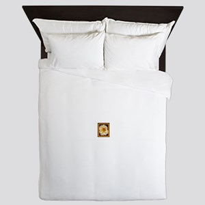 Bee-And-Gold-White-Flower-In-Frame Queen Duvet