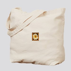 Bee-And-Gold-White-Flower-In-Frame Tote Bag