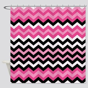 Pink and Black Mixed Zigzags Shower Curtain