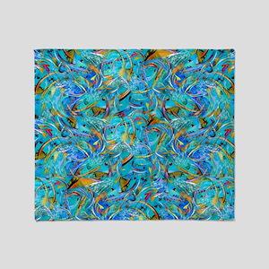 Abstract Teal Blue Swirls Paint Desi Throw Blanket