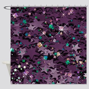 Purple & Multi Colored Sparkly Shower Curtain