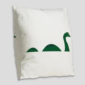 Loch Ness Monster Burlap Throw Pillow