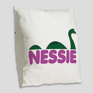 Nessie Monster Burlap Throw Pillow