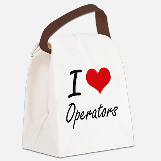 I Love Operators Canvas Lunch Bag